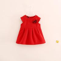 hot sale children girl flower wool dress melton dresses 2-7 years