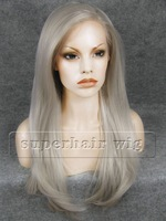 """26"""" Long Fashion Hair Gray Wig  Straight Synthetic Lace Front Wig High Quality Women Hair Party Wigs  DHL Free Z02"""