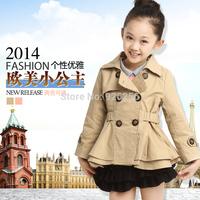 2014 child autumn female child trench little girl medium-long double breasted o-neck cardigan girls clothing sets