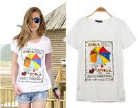 New Fashion2014 summer new women was thin short-sleeved t-shirt Slim cotton SK065937