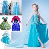 1pcs Retail 2014 Halloween Frozen Dress Summer Frozen Princess Gauze Dress Animated Cartoon Dress Girl Long-sleeved Frozen Dress