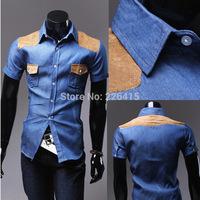 Free Shipping Fashion 2014 slim fit mens shirts patchwork denim mens dress shirts casual shirt male camisa social masculina