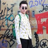 2014 FashionBanana printing men casual shirts long-sleeved male shirt camisa social masculina.Free Shipping!
