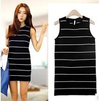 2014 autumn women's sleeveless woven stripe vest one-piece dress basic slim hip short Knitting Dresses B0539