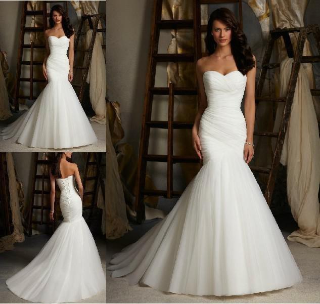foto real fábrica venda direta sereia sexy strapless rendas até branco marfim vestido de tule de noiva vestido de casamento 2014(China (Mainland))