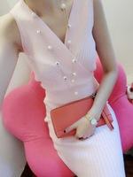 2014 sexy low-cut deep V-neck cross slim hip sleeveless knitted one-piece dress free Size B0538