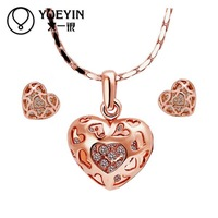 18k real rose gold plated heart earrings necklace Nickel and lead free with Genuine Austrian crystals