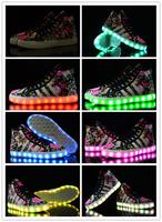 Luminous Night Light Disco Club Women Sports Shoes Height Increasing Flower Printed  Free Shiipping