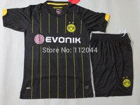 High  Quality   Borussia Dortmund  Away  Black    2014  - 2015  man  training  soccer  jerseys  uniforms  kits   Free Shipping