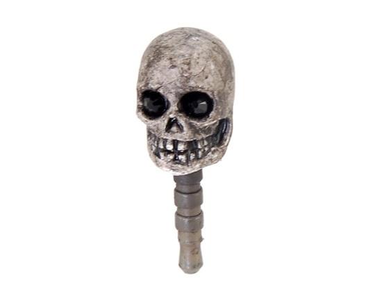 Skull Design 3.5 mm Dustproof Ear Cap for iPhone 4/4S (Black)(China (Mainland))