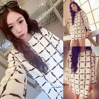 2014 women new fall over in the big classic Korean wild irregular plaid long shirt pullover