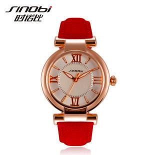 Top Sale! Newest Arrival SINOBI Brand Dress Watch for Women Leather Strap Gold Ladies Wristwatch Quartz Fashion Waterproof(China (Mainland))