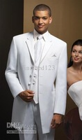 2015 Custom Made White/ivory two color Groom Tuxedos Wedding Groomsman Best man Suits (Jacket+Pants+Tie+Vest) ok:990a