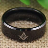 Free Shipping USA UK Canada Russia Brazil Hot Sales 8MM Comfort Fit Freemason Masonic Mason The Lord Black Tungsten Wedding Ring