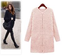 2014 New Fashion Women Size Plus S M L XL XXL 3XL 4XL 5XL Winter Fur Coat Pink White Black Woolen Nibbuns Slim Female Outerwear