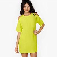 New Fashion 2014 Summer Dresses Girl Hollow Out Sexy Dress Lemon Yellow Women Plus Size Novelty Brand Chiffon casual Dress