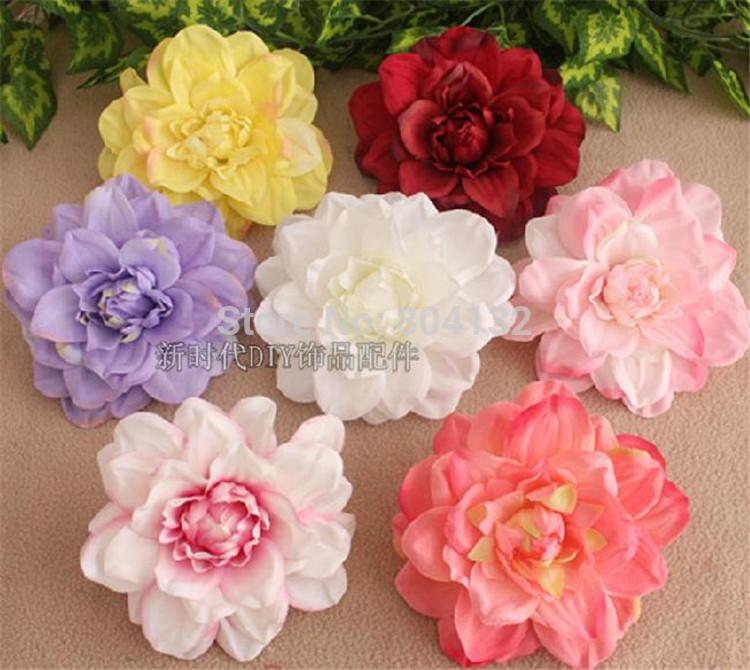 "Fake Dahlia Flower Head Dia. 12cm/4.72"" Artificial Silk Chrysanthemum 18Pcs/lot for DIY Hairband Cloth Shoes Decorations(China (Mainland))"