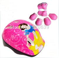 Free shipping Wrist Knee Elbow snow white Princess Pad set  WITH helmet Sport Helmet Protector set for kid Knee Elbow & hand