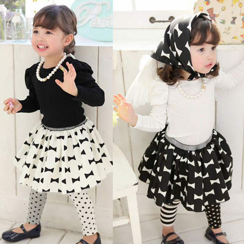 2014 New Children Clothing 3PCS Set Girls Bowknot Dress Sets Kids wear long sleeve t Shirt + Floral Skirt +Headband cute suits(China (Mainland))