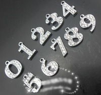 Rhinestone pendant 0-9 number pendants DIY jewelry accessories 12MM 20 Pc