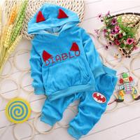 retail Children's clothes set ! autumn Girls boys sports pants +Little Devil 3d wings hooded T-shirt suits