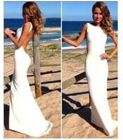 New Women Dress 2014 Hot Selling Casual Beach Summer Bandage Summer Dress Sleeveless Long White Party Club Top Sale Dress