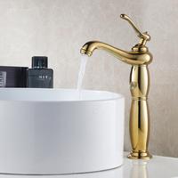 Art Deco Ti-PVD Golden Lantern Tall Solid Brass Functional Centerset Mixer Tap Bathroom Vanity Sink / Basin Faucet (UP-4103)