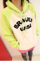 2014 New Bright Multi-colored Long sleeve Hooded Sweater Letters Woman Hoodies casual sweatshirt women hoody Loose Fleece