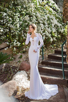 2015 Stunning White High Neck Chiffon Mermaid Wedding Dresses Lace Applique  Long Sleeves Backless Romantic Bridal Gowns