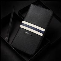 Luxury brand genuine leather wallet For Men.2014 design classic black zipper purse Drop Shipping