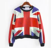 New Hoodies For Women 2014 Fashion Flage Print Pullovers Casual Long Sleeve Hoody Femininas O-neck Sweatshirts HO8030