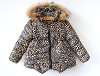 Fashion Brand Girl Winter Parkas Children Clothing Baby Outerwear Hoody Winter Jackets for Girls Leopard Print Warm Kids Parkas