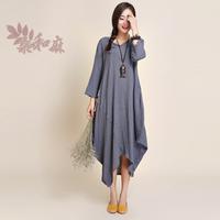 [ LYNETTE'S CHINOISERIE - Sang ] 2014 women's national trend ruffle fluid 7 length sleeve one-piece dress