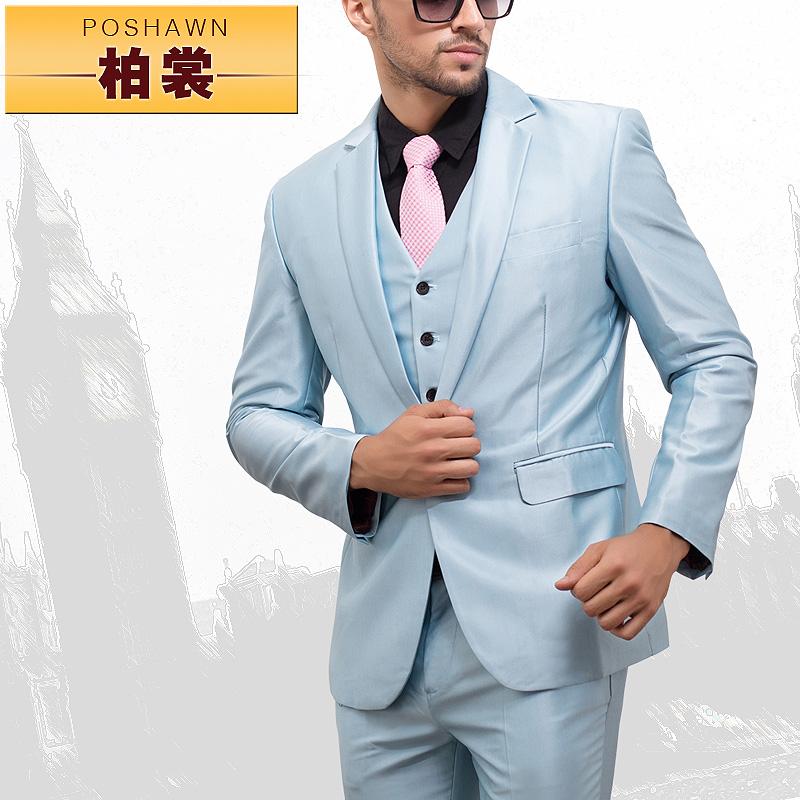 Mens Blue Suit Wedding Men Suits Sky Blue Slim