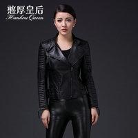 Queen 2014 genuine leather clothing women's slim sheepskin motorcycle outerwear