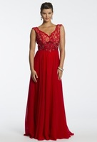 2015 Mother of the Bride Dresses A Line V Neck Red Chiffon Lace Pleats Floor Length Party Dresses Women Gown