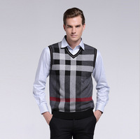 Free Shipping New 2014 Fashion polo Plaid men V collar Casual men's Polo wool Vest waistcoat sweater for man