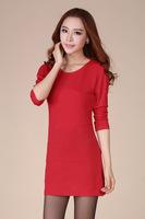 New Arrival 2014 Autumn Women Long Sleeve Hin Thin Dress Fashion Solid Plus Size Mini Dresses LY-0001