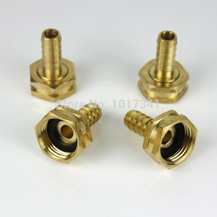 "Brass Garden Hose Fitting, 3/4""GH x 1/2"" Barb, Plate Chiller Adapters Kit, 4 pcs/lot , Bre"