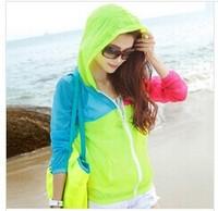 1pcs/lot  zipper thin breathable sun protection clothing beach clothing long-sleeved shirt short paragraph air conditioningfy166
