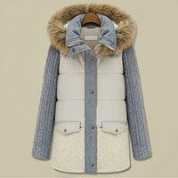 winter jacket 2014 NEW Slim Women cotton-padded Coats Thicken long Parkas Fashion fur collar Coat shipping Q168