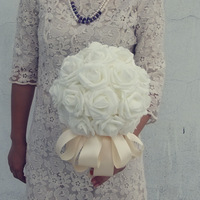Free shipping wedding bouquet artificial flower bridal bouquets 33pcs rose bouquet white/pink/yellow 08920