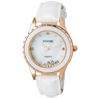 SINOBI 8119 Women's Fashionable Rhinestone Decorated Analog Quartz Wrist Watch with Faux Leather Band (White)