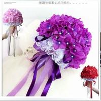 Free shipping wedding bouquet artificial handmade BLUE rose flower bridal bouquets 08916