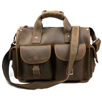 Vintage Fashion Crazy Horse Genuine Leather Cowhide Men Business Handbag Shoulder Bag Messenger Bag Bags Briefcase For Men 6371