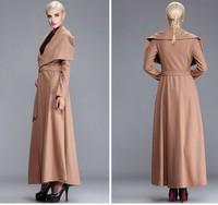 2014 New fashion long wool coat slim large lapel jacket plus size slim woolen jacket outwear women's autumn winter coat