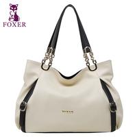 FOXER women leather handbags shoulder bags women famous brands high quality totes genuine leather handbag vintage wristlets bag