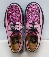 Japan Harajuku amo soft sister Pink Leopard rivet star dermal muffin thick bottom, flat platform shoes