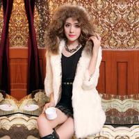 women rabbit vest 2014 winter rabbit fur coat medium-long female hooded fur