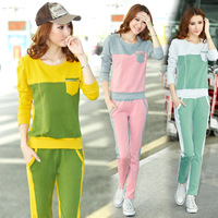 Spring and autumn sweatshirt patchwork slim long-sleeve sportswear twinset women's o-neck casual sports set
